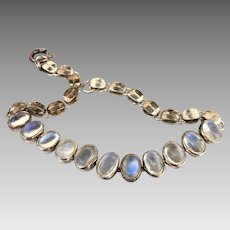 Vintage Sterling Silver Moonstone Open Back Bezel Set Bracelet