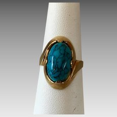 German Retro 8k Gold Turquoise Hardstone Ring
