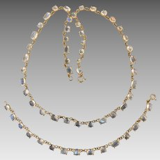 18k Gold Glowing Moonstone Gemstone Open Back Necklace Bracelet Set Parue