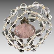 Art Deco Germany Sterling Silver  Pink Quartz Rock Crystal Gemstone Marcasite Beaded Necklace