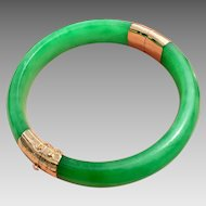 14k Gold Jadeite Jade Bangle Bracelet