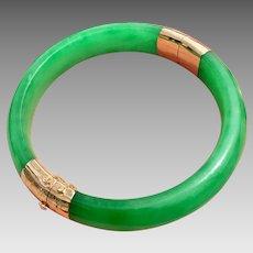 14k Gold Jadeite Jade Bangle Bracelet
