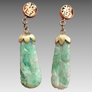 14k Gold Chinese Carved Jade Jadeite Earrings