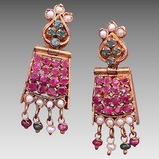 Indian Mogul Gilt Emerald Ruby Pearl Multi Gemstone Earrings