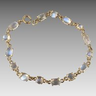 18k Gold Glowing Moonstone Gemstone Open Back Bracelet