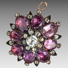 Antique Georgian Natural Amethyst Quartz Rock Crystal Gemstone Sterling Silver Black Dot Brooch Pin Pendant for Necklace