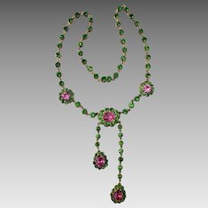 Antique Riviere Georgian Gilt Peridot and Pink Topaz Paste Necklace