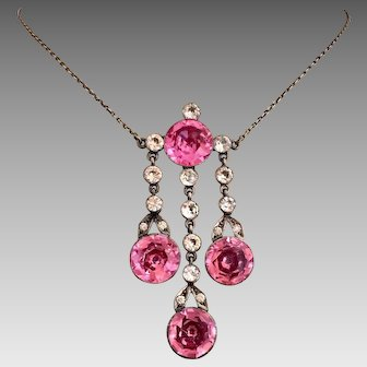 Antique Riviera Sterling Silver Victorian Drop Lavaliere Pink Topaz and Diamond Paste Necklace