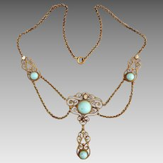 Antique  Edwardian Gold Fill Turquoise Glass Natural Pearl Festoon Swag Necklace