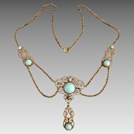Antique  Edwardian Gold Fill Turquoise Natural Pearl Festoon Swag Necklace