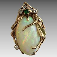 Retro 14K Gold 22.96 Carat Opal Diamond Emerald Ring with Appraisal