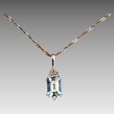 Aquamarine Gemstone Diamond 14k White Gold Necklace