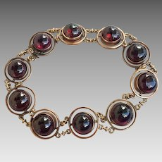 Antique 10K Gold Bohemian Garnet Gemstone Bracelet