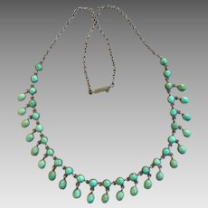 Antique Victorian Turquoise Sterling Silver Bezel Set Festoon Necklace