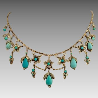 Antique Victorian  Gilded Sterling Silver Turquoise Seed Pearl Festoon Charm Necklace