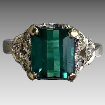 Retro 14k White Gold Tourmaline Diamond Ring