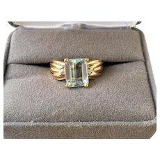 14k Gold Aquamarine Diamond Ring