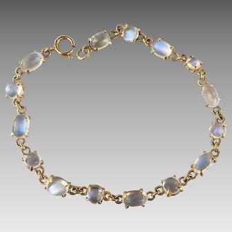 18k Gold Glowing Moonstone Gemstone Open Back Bracelet