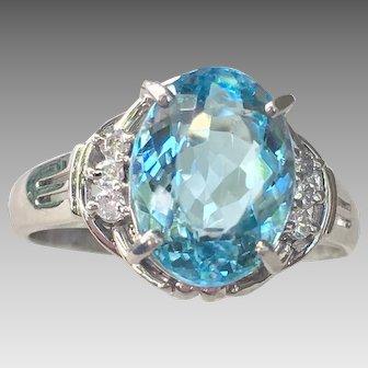 Platinum 2.10 cts Aquamarine Diamond Gemstone Ring