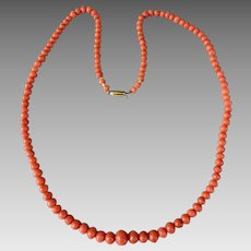 Antique 10K Gold Mediterranean Natural Coral Beaded Necklace