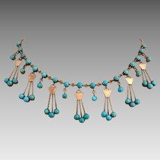 Antique Edwardian 10k Gold Sleeping Beauty Turquoise Gemstone Necklace