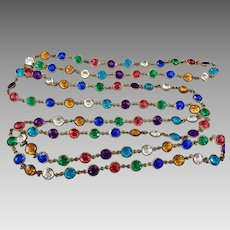Czech Art Deco Open Back Bezel Set Harlequin Crystal Necklace