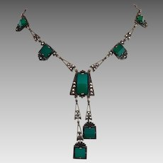 Art Deco Sterling Silver Chrysoprase Sterling Silver Marcasite Lavaliere Negligee Necklace