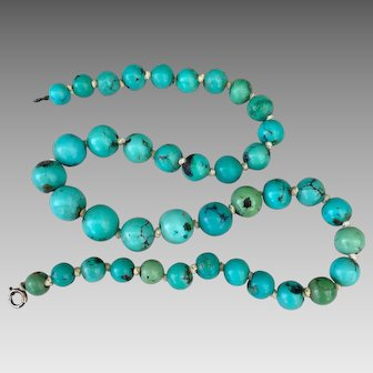 Art Deco Sterling Silver Chinese Turquoise Beaded Necklace