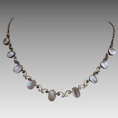 Antique Edwardian Sterling Silver Glowing Moonstone Bezel Set Necklace