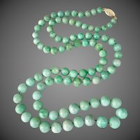 14k Gold Chinese Jade Jadeite Beaded Necklace