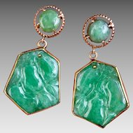 14k Gold Retro Chinese Natural Carved Jadeite Jade Earrings Hallmarked