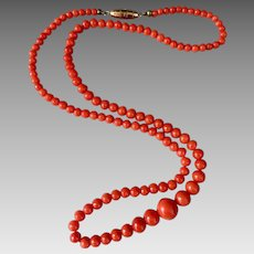 Antique Victorian Natural Coral Beaded Necklace