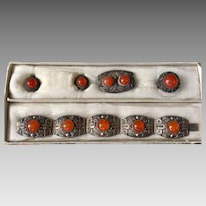 Art Deco Chinese Carnelian Gemstone Bracelet Brooch Earrings Ring Parure Set