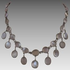 Antique Victorian Sterling Silver Moonstone Bezel Set Festoon Necklace