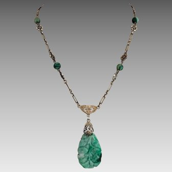 Art Deco Chinese Carved Jadeite Jade Gilded Sterling Silver Pendant Necklace
