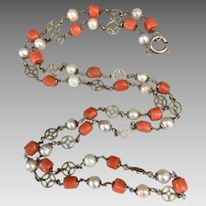 Antique Gilded Sterling Silver Natural Coral Pearl Necklace