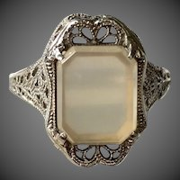 Art Deco 14k White Gold Filigree Agate Ring