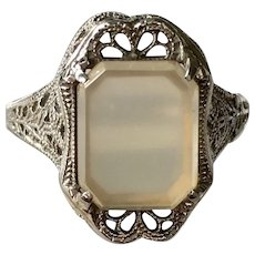 Antique Belais Ny Art Deco 18k White Gold & Ruby Lapel Stick Pin Vintage & Antique Jewelry