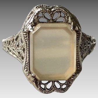 Art Deco 14k White Gold Filigree Agate Ring