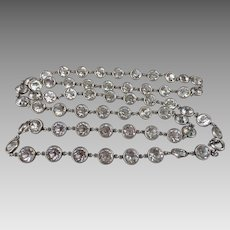 Art Deco Sterling Silver Rock Crystal Open Back Bezel Set Necklace