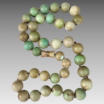 14k Gold Natural Turquoise Beaded Necklace