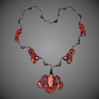 Rare Antique Sterling Silver Art Nouveau Coral Cameo Enamel Necklace