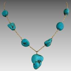 14k Gold Turquoise Nugget Pendant Drop Necklace