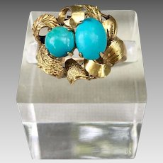 Antique 14k Gold Sleeping Beauty Turquoise Gemstone Ring