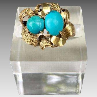 Antique 14k Gold Sleeping Beauty Turquoise Gemstone Ring
