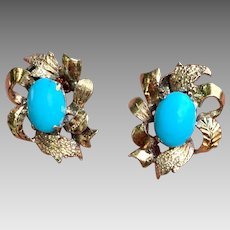 Antique 14k Gold Sleeping Beauty Turquoise Gemstone Earrings