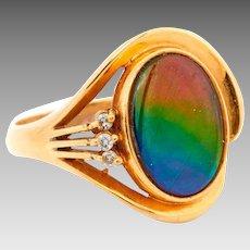 Retro 18k Gold Diamond Ammolite Gemstone Ring