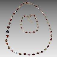 Art Deco European Harlequin 18k Gold Zircon Almandine Hessonite Garnet Tourmaline Multi Gemstone Necklace Bracelet Set Appraisal over $5700