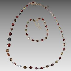 Art Deco European Harlequin 18k Gold Zircon Almandine Hessonite Garnet Tourmaline Multi Gemstone Necklace Bracelet Set Appraisal over $5700