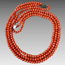Antique Sterling Silver Mediterranean Natural Coral Triple Strand Beaded Necklace